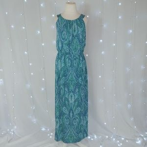 Enfocus Studio Blue & Green Maxi Dress